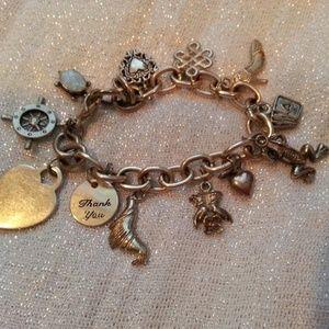 Vintage Charm Bracelet with 11 unique charms
